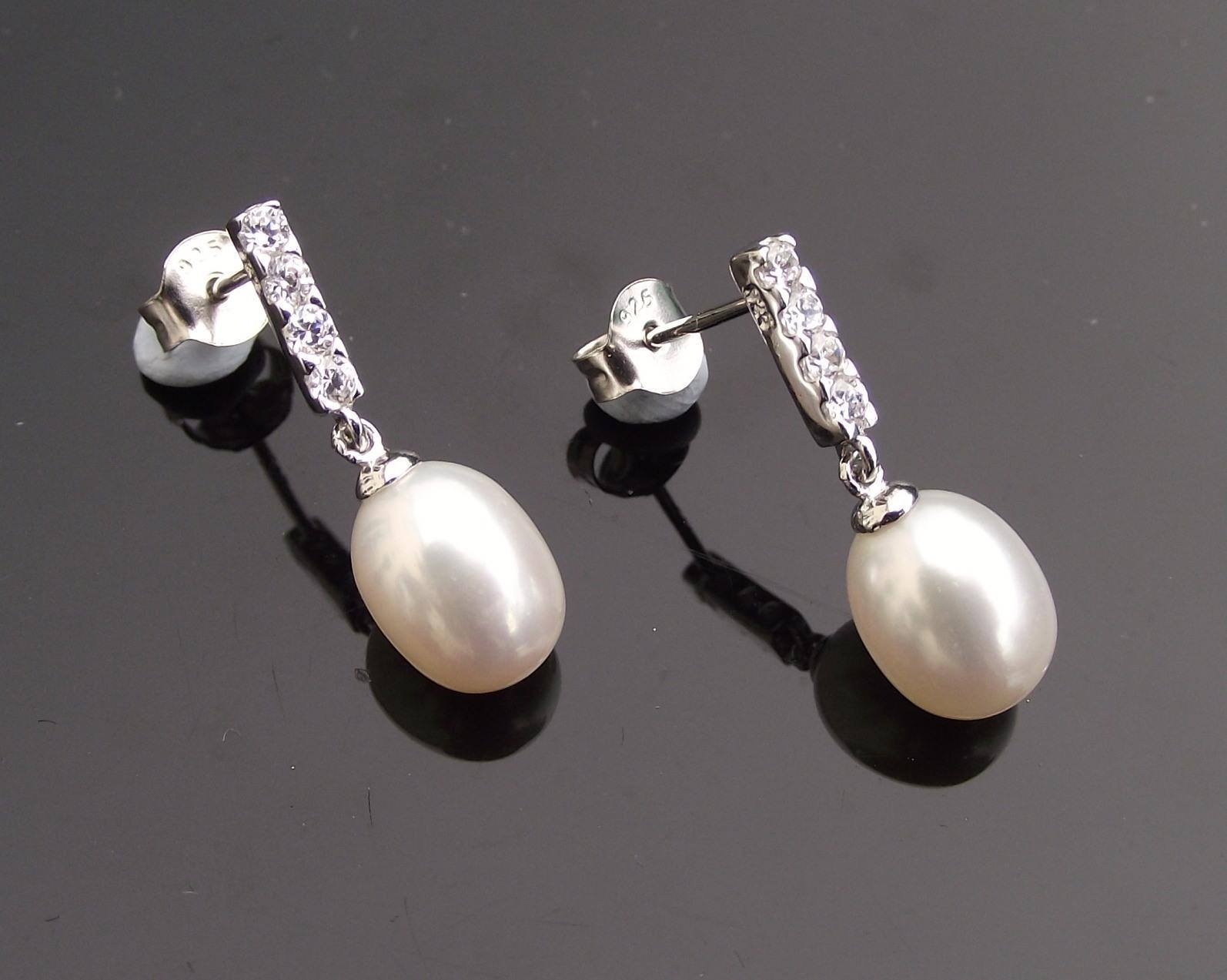 Wedding Earrings - Teardrop Freshwater Pearl Earrings & Sterling Silver, Mimi