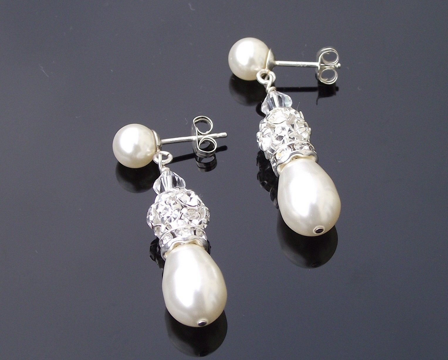 Wedding Earrings - Teardrop Pearl And Crystal Wedding Earrings, Gemma