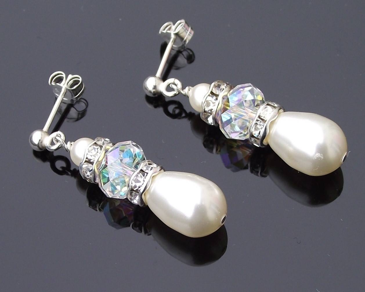 Wedding Earrings - Teardrop Pearl And Swarovski Crystal Earrings, Meg
