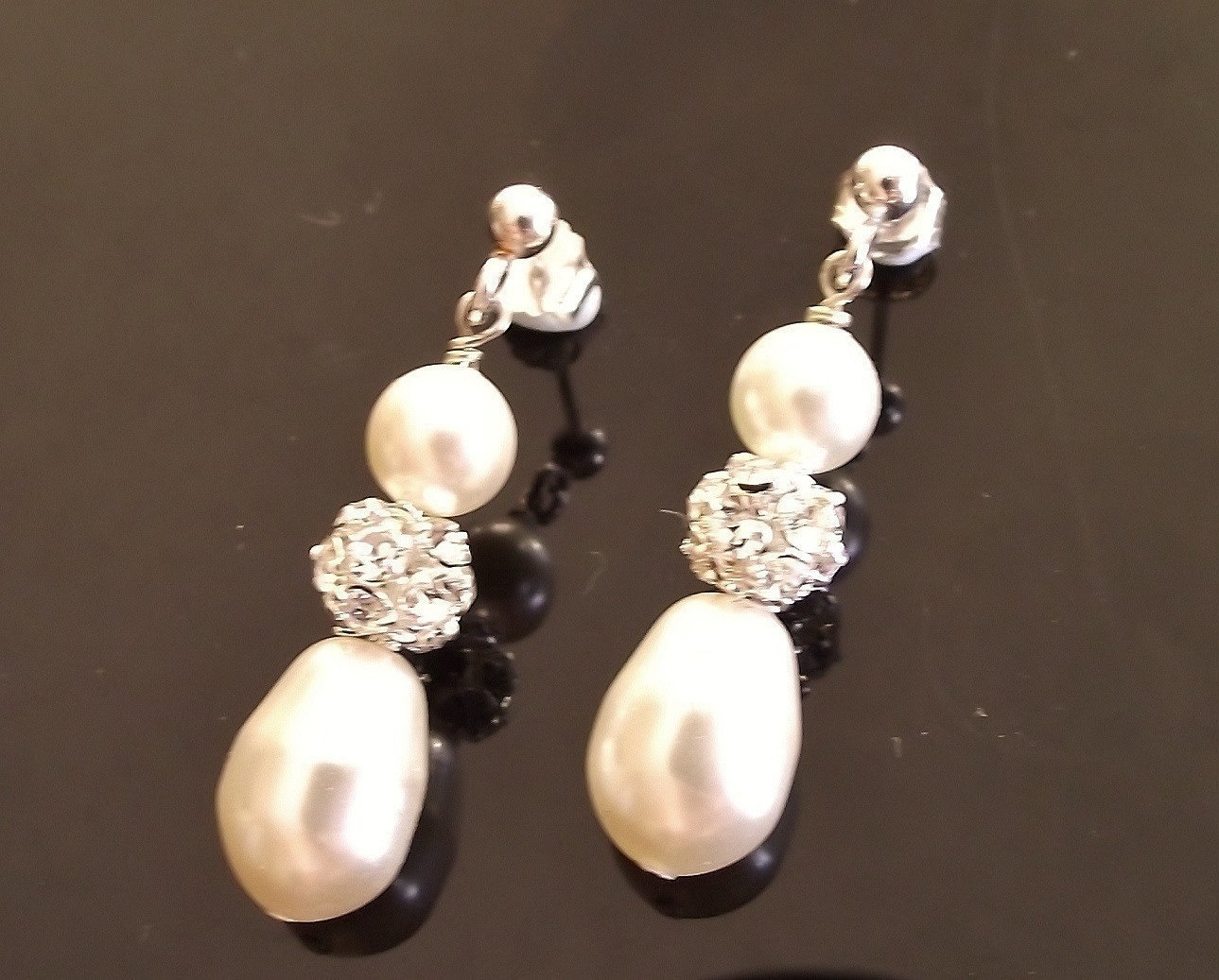 Wedding Earrings - Teardrop Pearl & Crystal Encrusted Earrings, Moritz