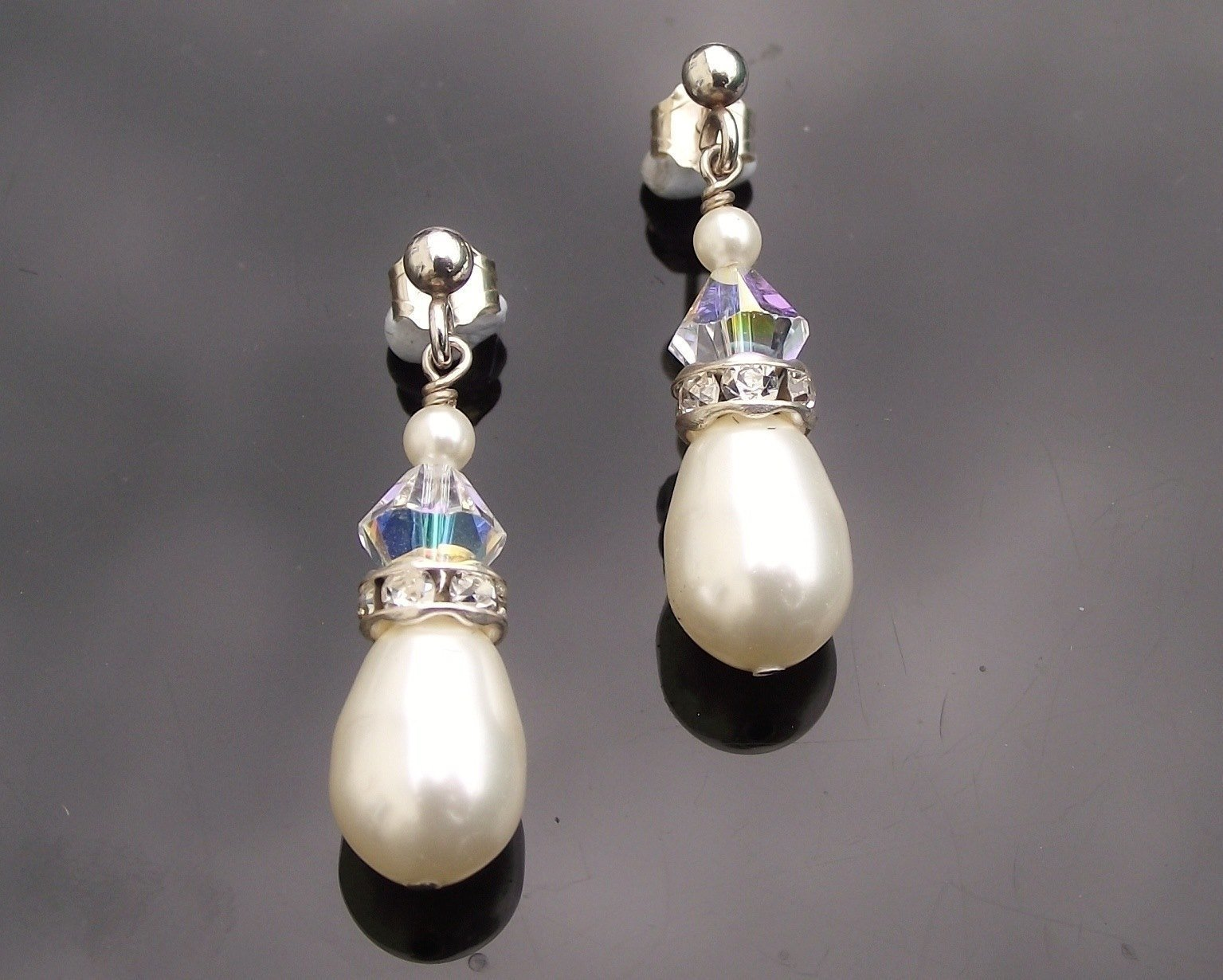 Wedding Earrings - Teardrop Pearl Wedding Earrings, Rudy