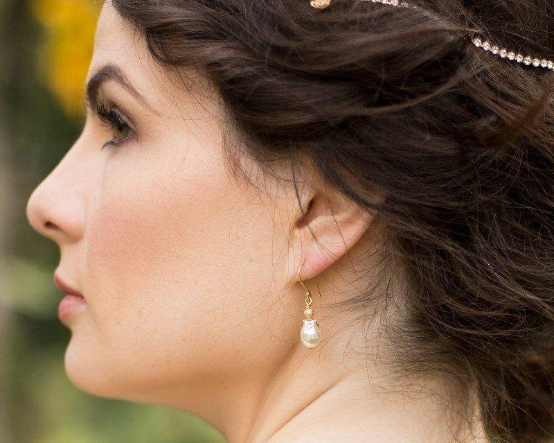 Wedding Earrings - Teardrop Pearl Wedding Gold Earrings, Acorn