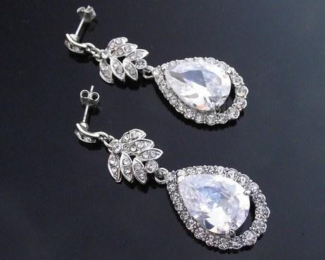 Wedding Earrings - Vintage Style Silver Teardrop Earrings, Isobel