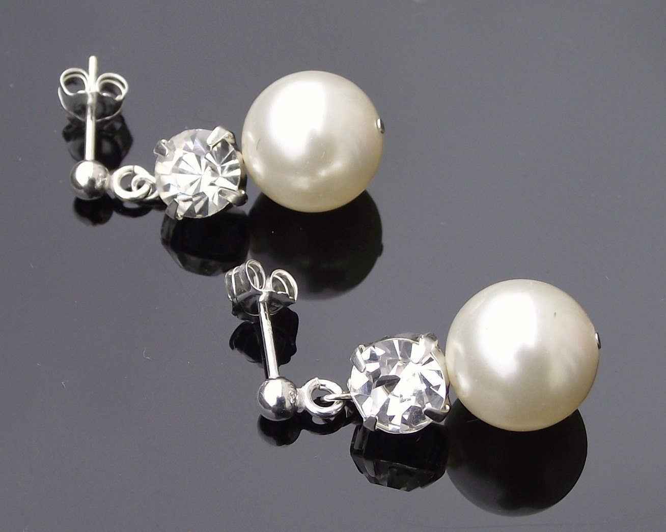 Wedding Earrings - Wedding Drop Pearl Earrings, Andrea