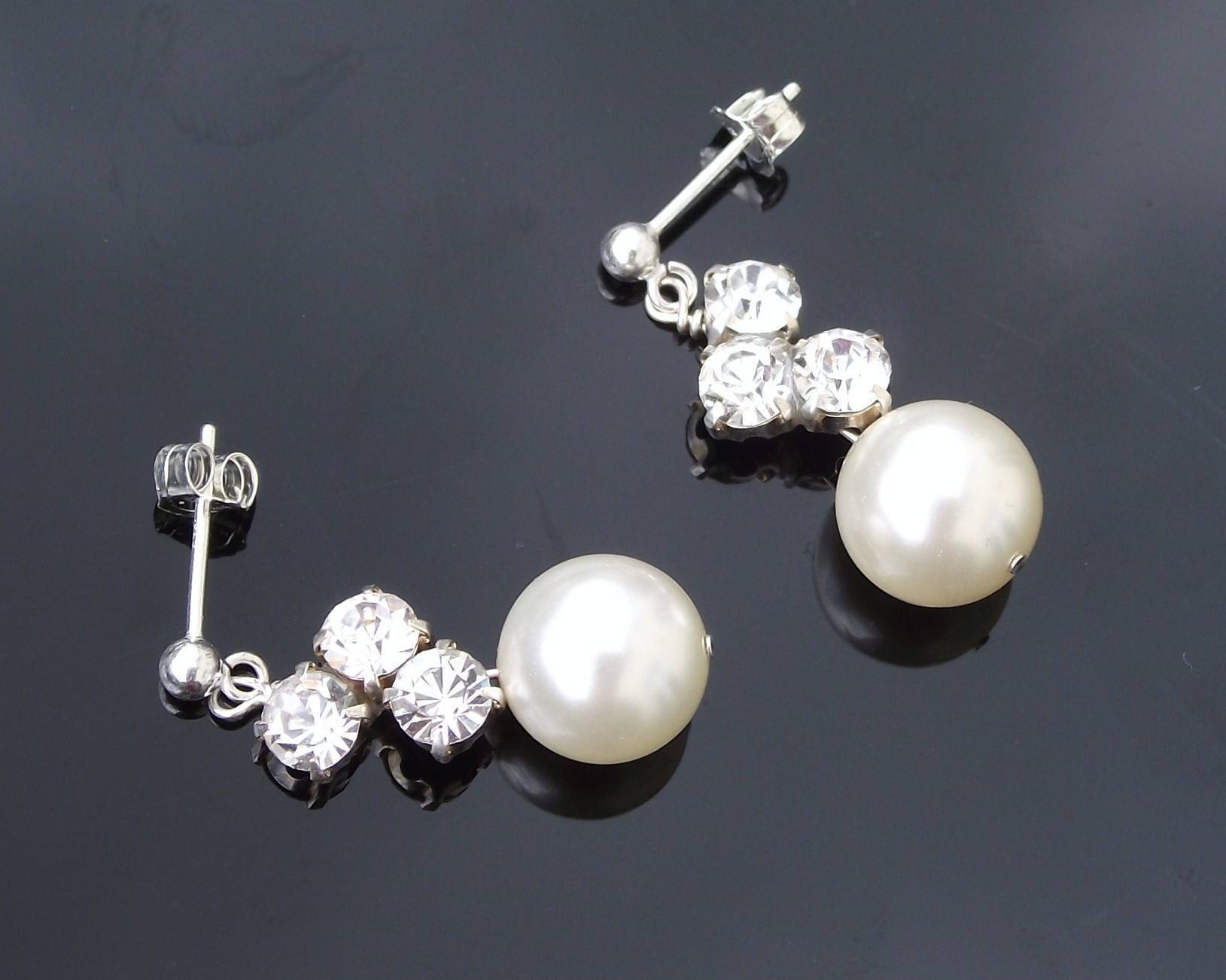 Wedding Earrings - Wedding Pearl Drop Earrings, Tanya