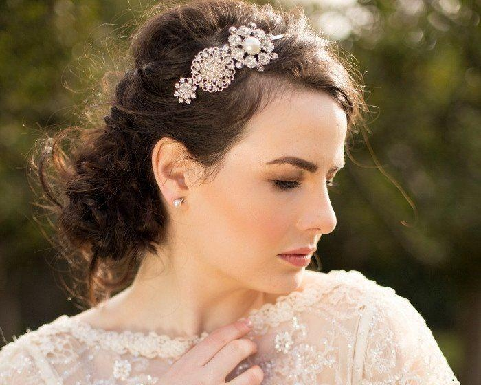Wedding Hair Bands - Vintage Luxe Style Bridal Ivory Pearl Headband, Alex