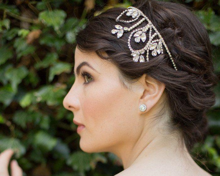 Wedding Hair Bands - Wedding Headband With Swarovski Crystals And Pearls, Posy