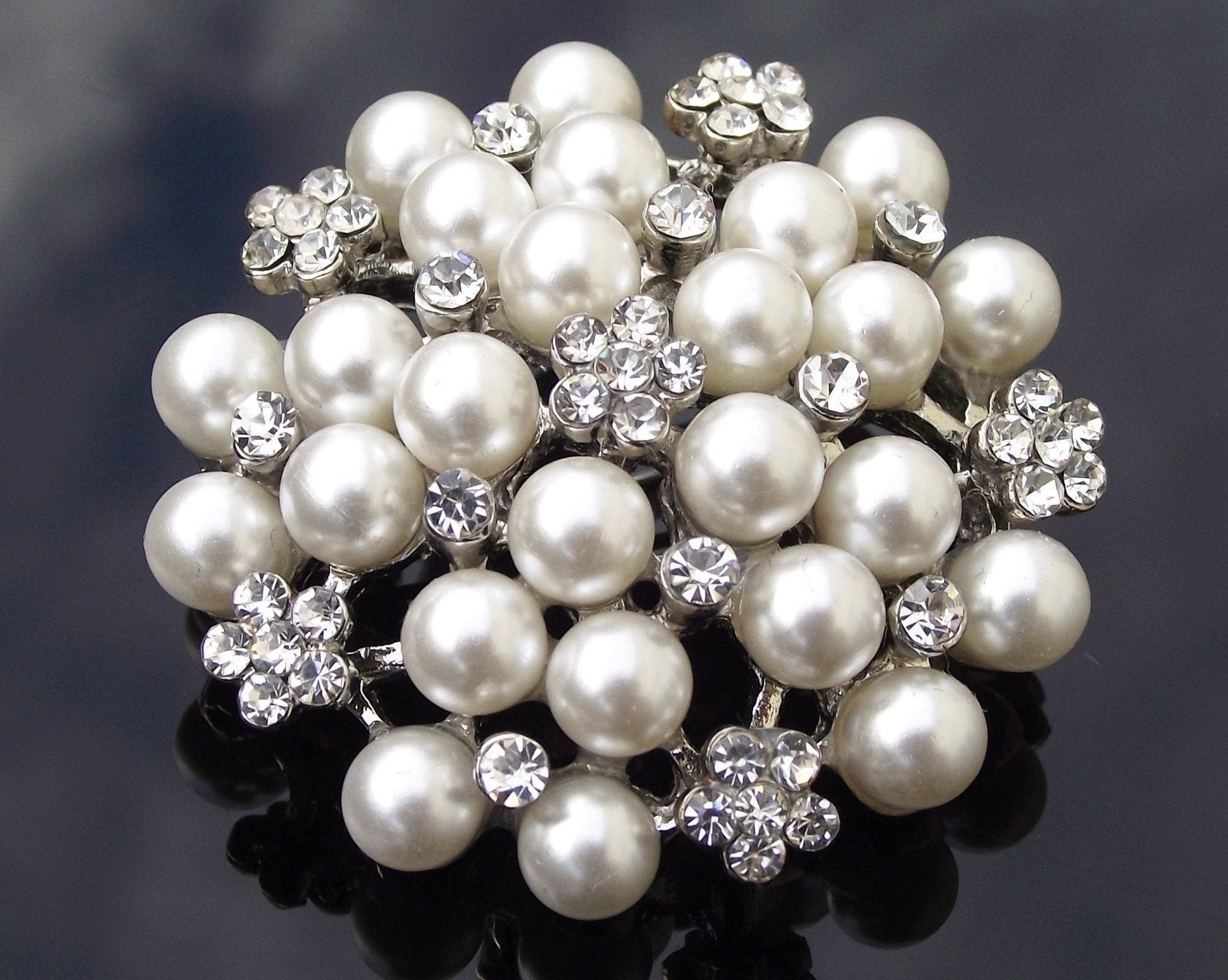 Wedding Hair Clips - Cluster Pearl Hair Clip With Crystals, Nadine