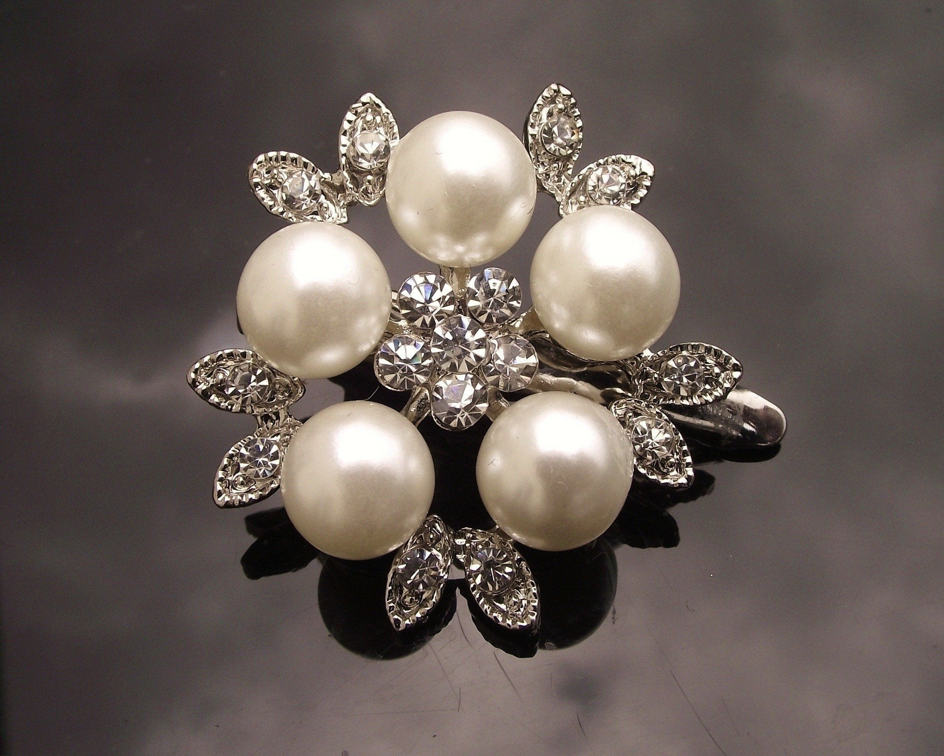 Wedding Hair Clips - Floral Pearl Hair Clip With Crystals, Uma