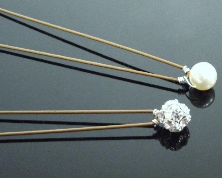 Wedding Hair Clips - Pearl And Crystal Encrusted Hair Pins, Package Of Four. Amour