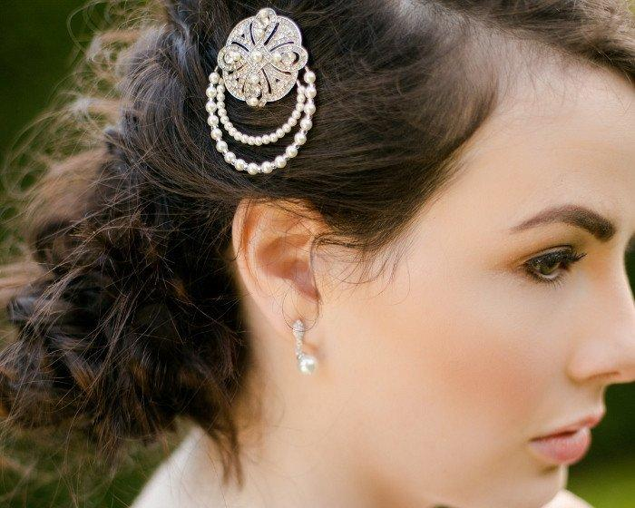 Wedding Hair Clips - Pearl Hair Clip With Celtic Style Feature, Celtic