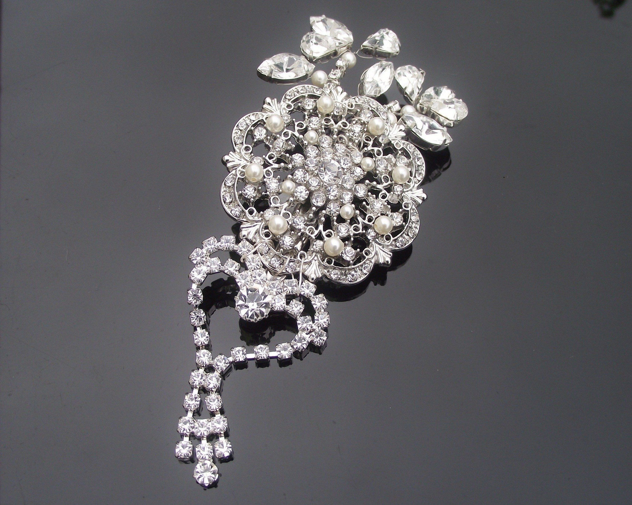 Wedding Hair Clips - Statement Wedding Hair Clip With Crystals & Rhinestones, Gatsby