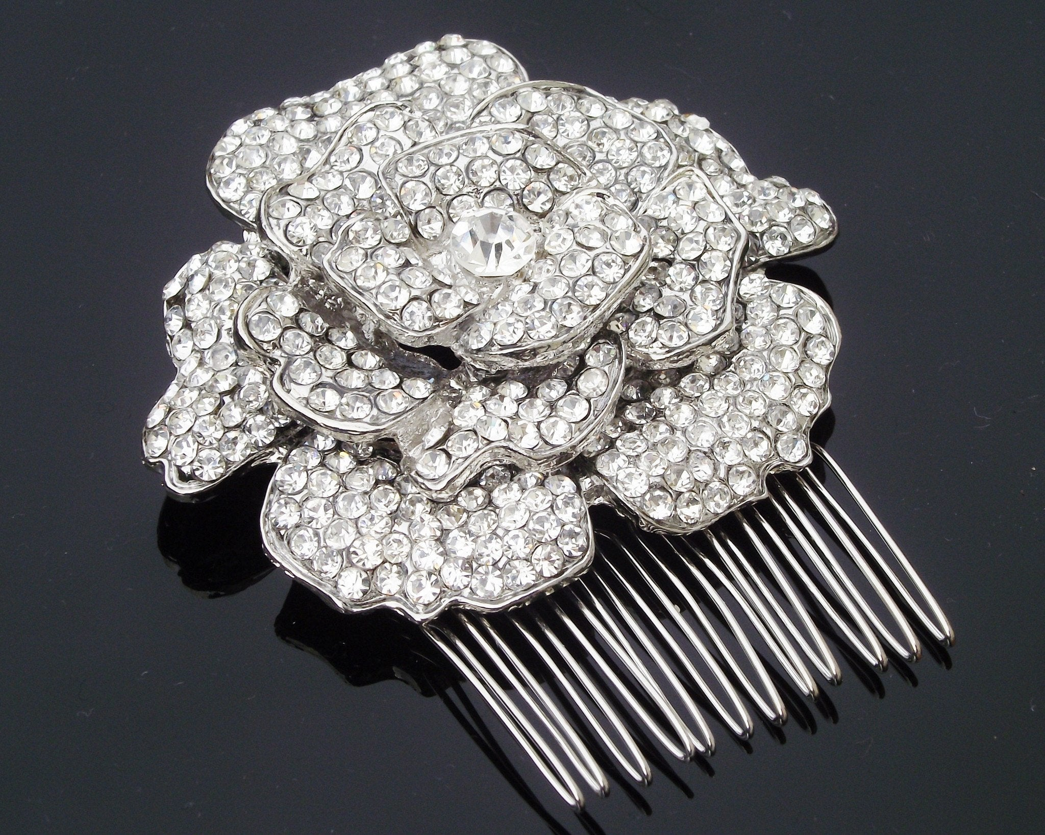 Wedding Hair Combs - Antique Style Crystal Flower Hair Comb, Floral Headpiece, Elaine