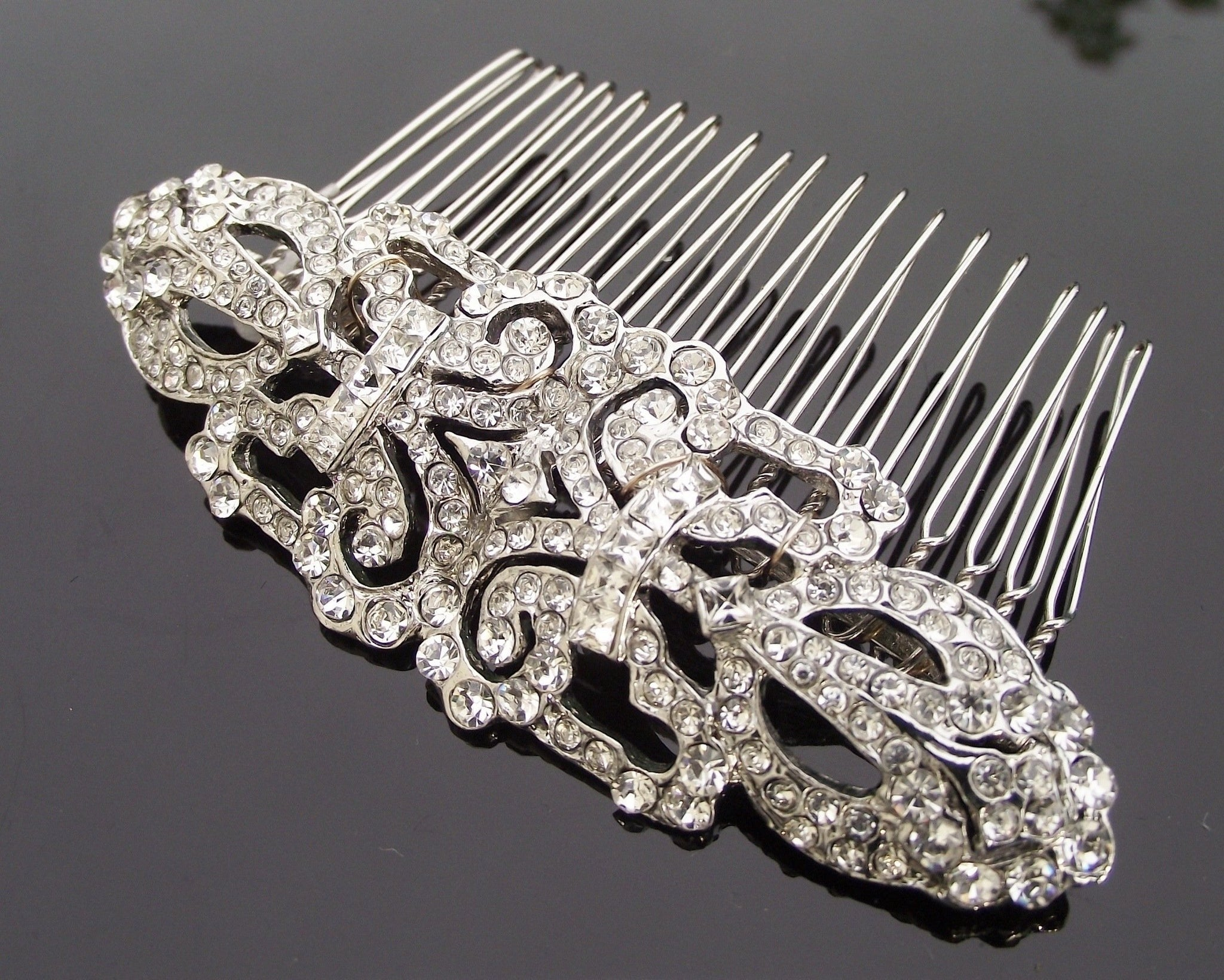 Wedding Hair Combs - Art Deco Style Crystal Encrusted Wedding Hair Comb, Ellen C