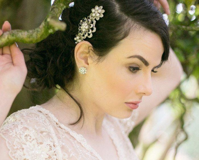 Wedding Hair Combs - Beautiful Petal Ivory Pearl & Crystal Comb, Danielle