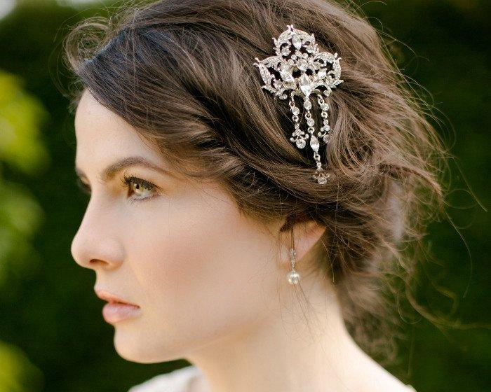 Wedding Hair Combs - Bridal Cascading Droplet Hair Comb, Imelda