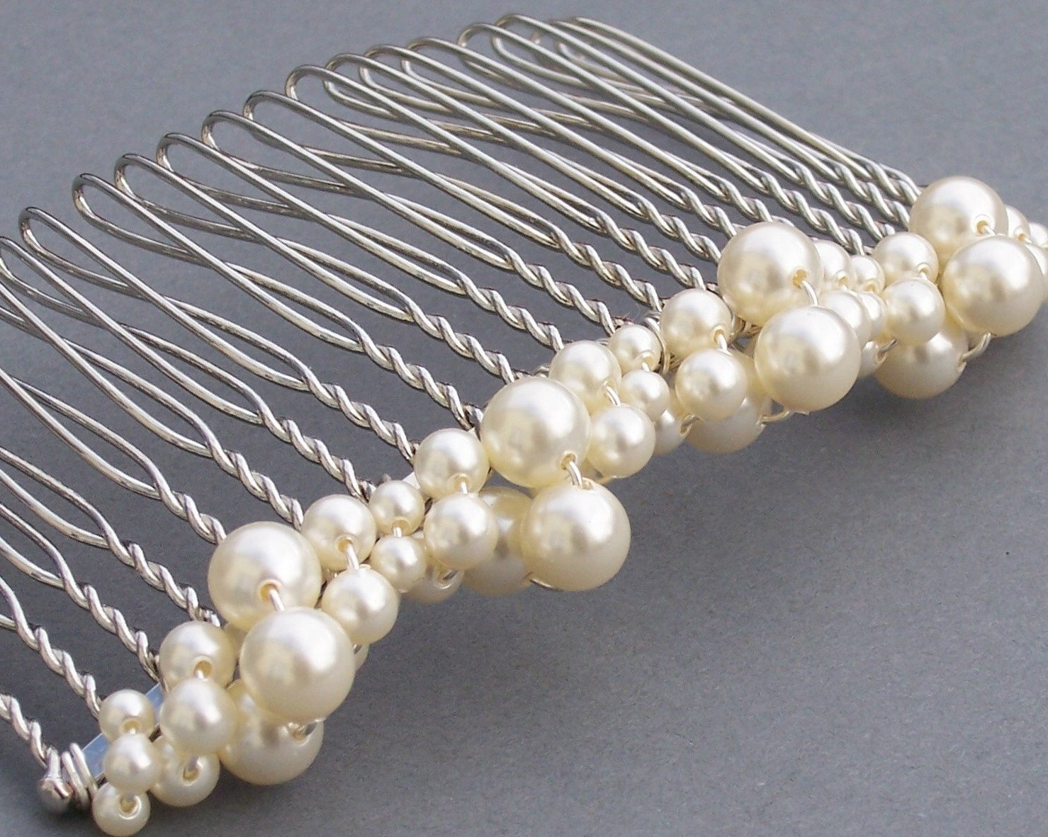 Wedding Hair Combs - Classic Swarovski Pearl Comb, Michelle