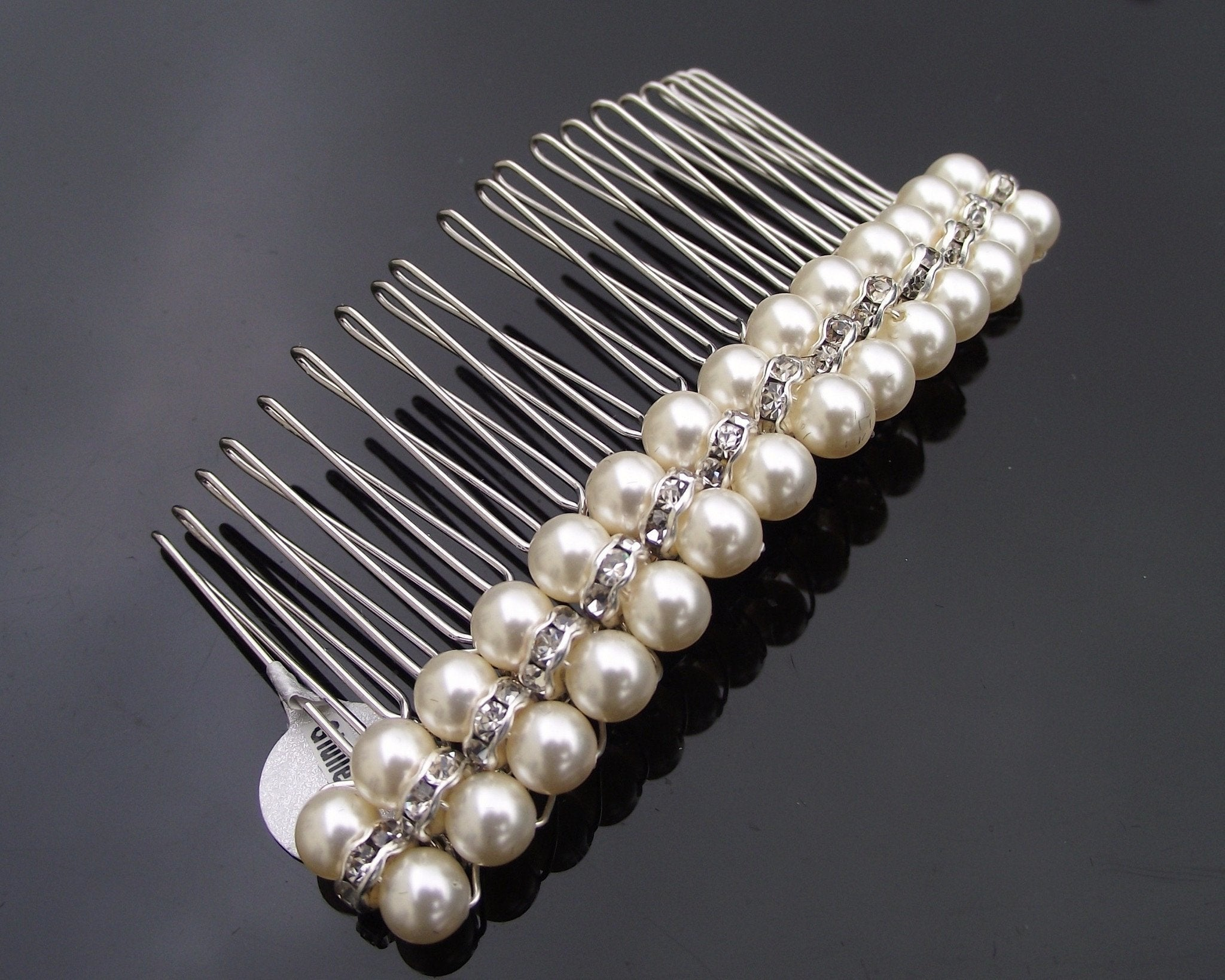 Wedding Hair Combs - Classically Styled Pearl & Crystal Wedding Hair Comb, Giulietta
