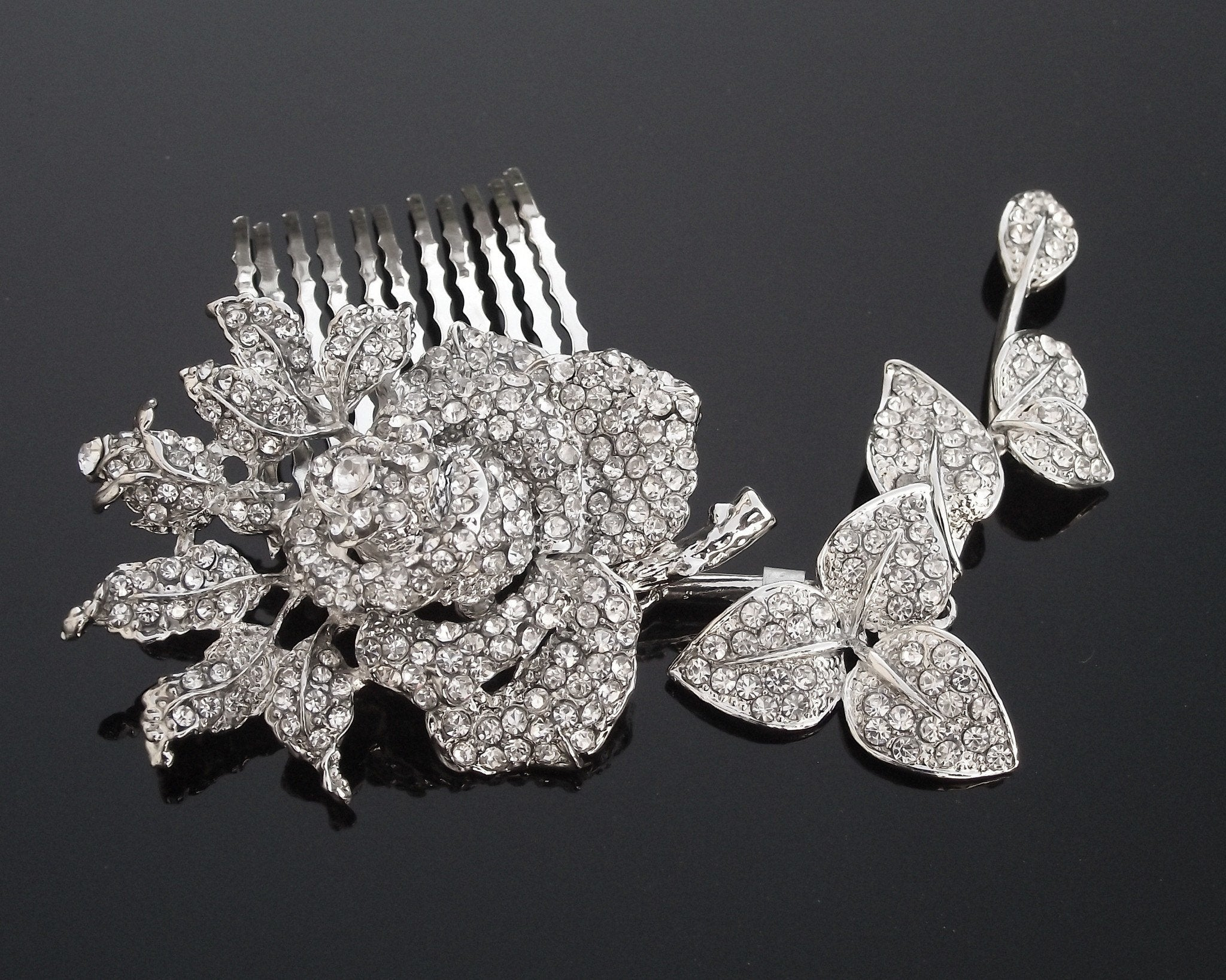 Wedding Hair Combs - Crystal Encrusted Flower Wedding Hair Comb, Mimosa