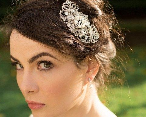 Wedding Hair Combs - Filigree Art Deco Style Wedding Comb, Marquis