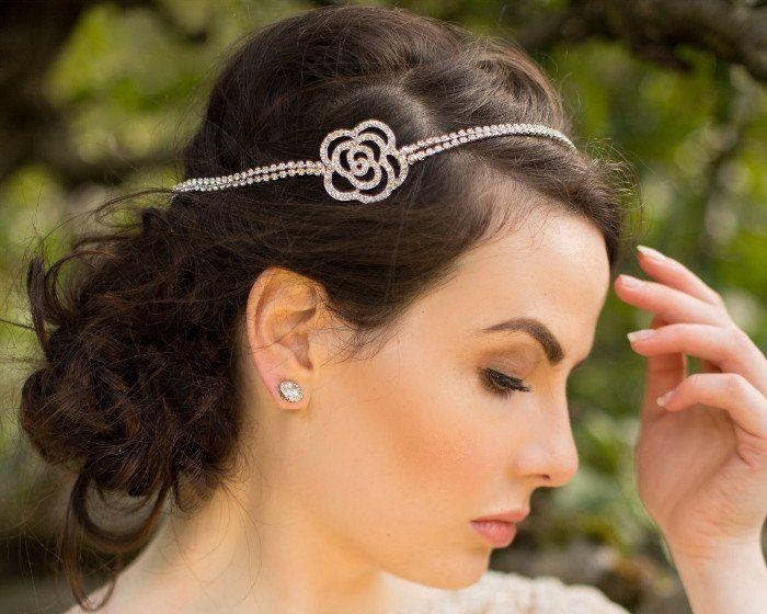Wedding Hair Combs - Floral Style, Silver And Crystal Headband, Fleur