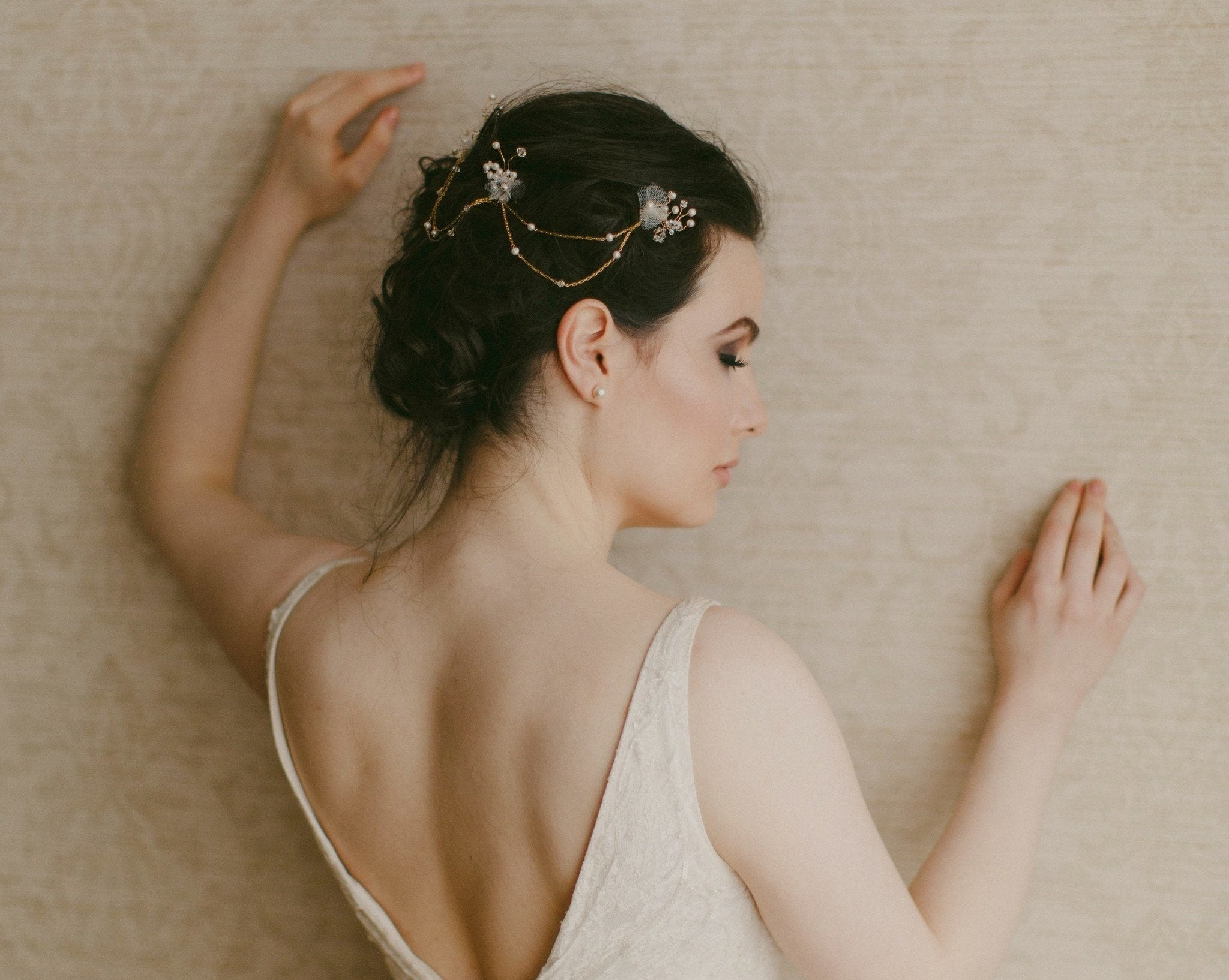 Wedding Hair Combs - Freshwater Pearl, Tulle And Silk Petal Gold Headpiece, Foxglove