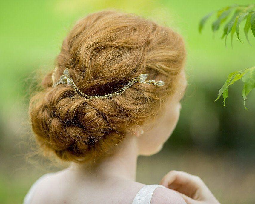 Wedding Hair Combs - Gold Draped Pearl & Crystal Wedding Headpiece, Camomile