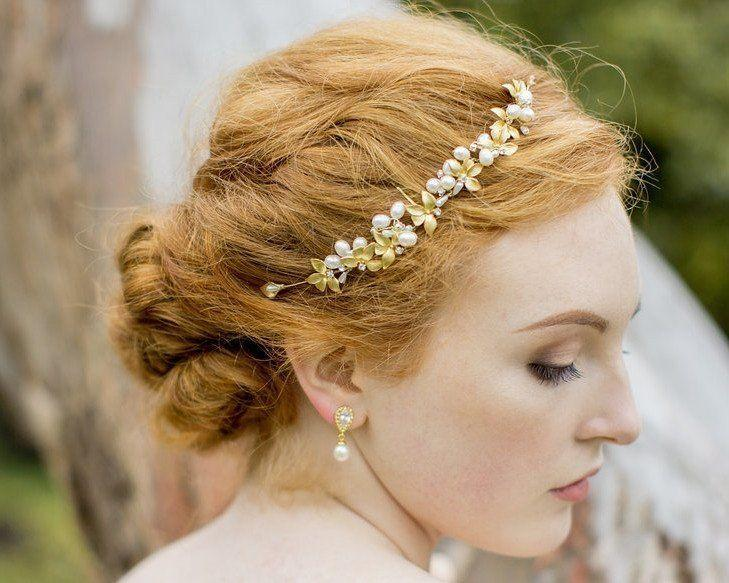 Wedding Hair Combs - Gold Leaf And Freshwater Pearl Headpiece, Gold Vine