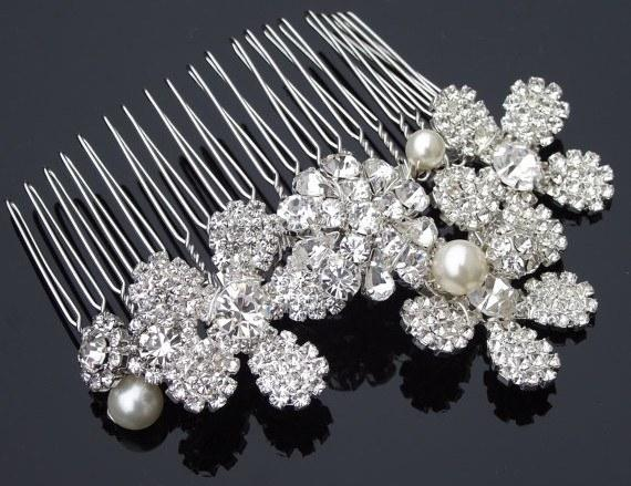 Wedding Hair Combs - Gorgeous Vintage Style Comb With Crystal Flowers, Silke