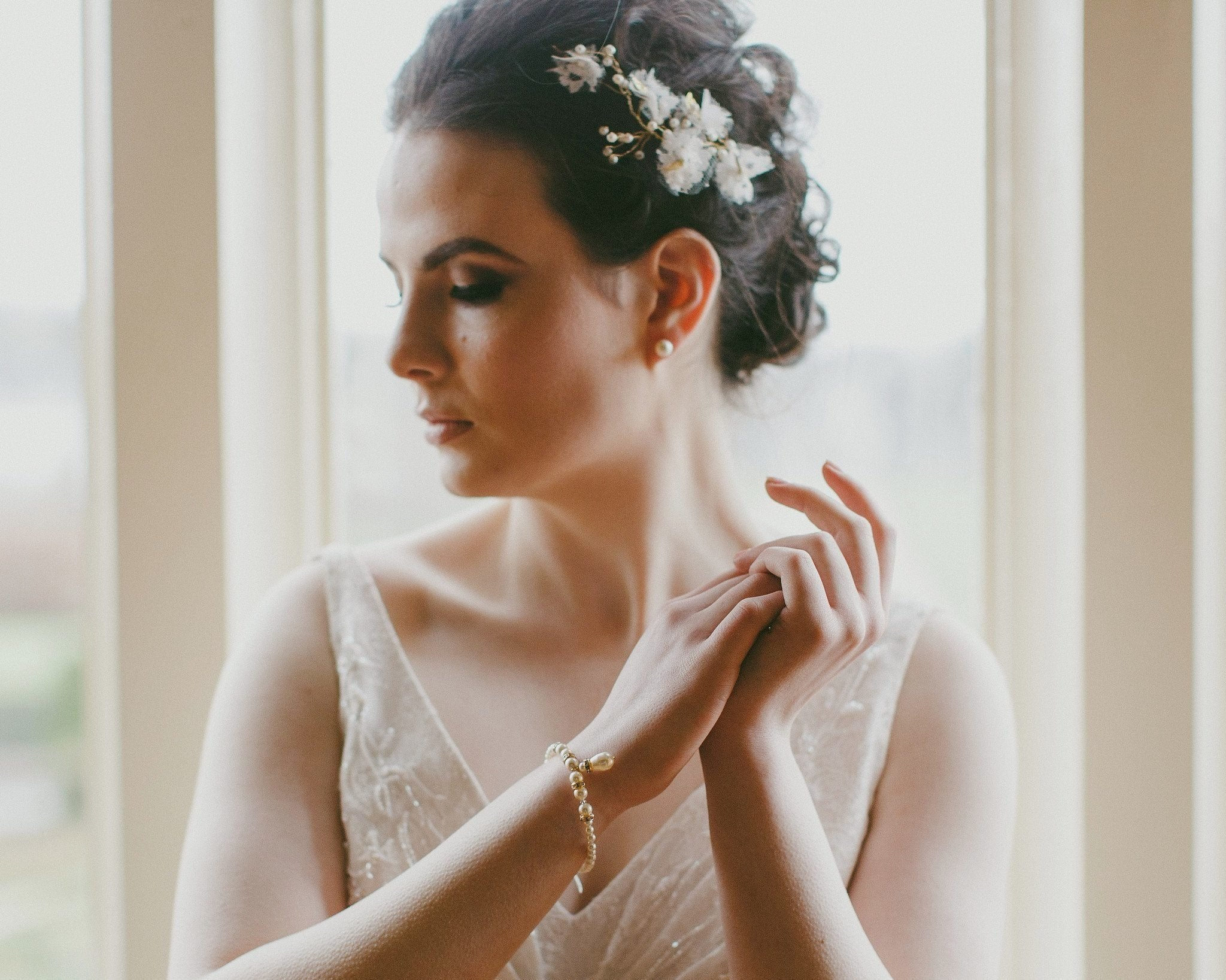 Wedding Hair Combs - Handmade Lace, And Tulle Headpiece, Poppy Gold