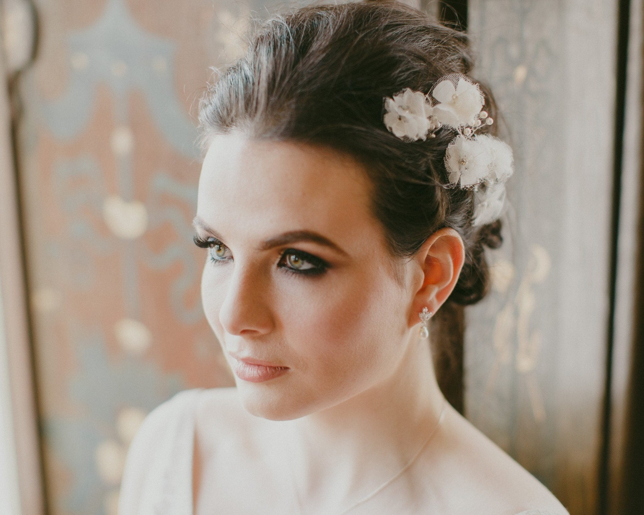 Wedding Hair Combs - Handmade Lace, Tulle And Silk Petal Headpiece, Poppy