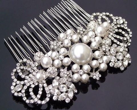 Wedding Hair Combs - Handmade Pearl & Luxe Crystal Comb, Rebecca
