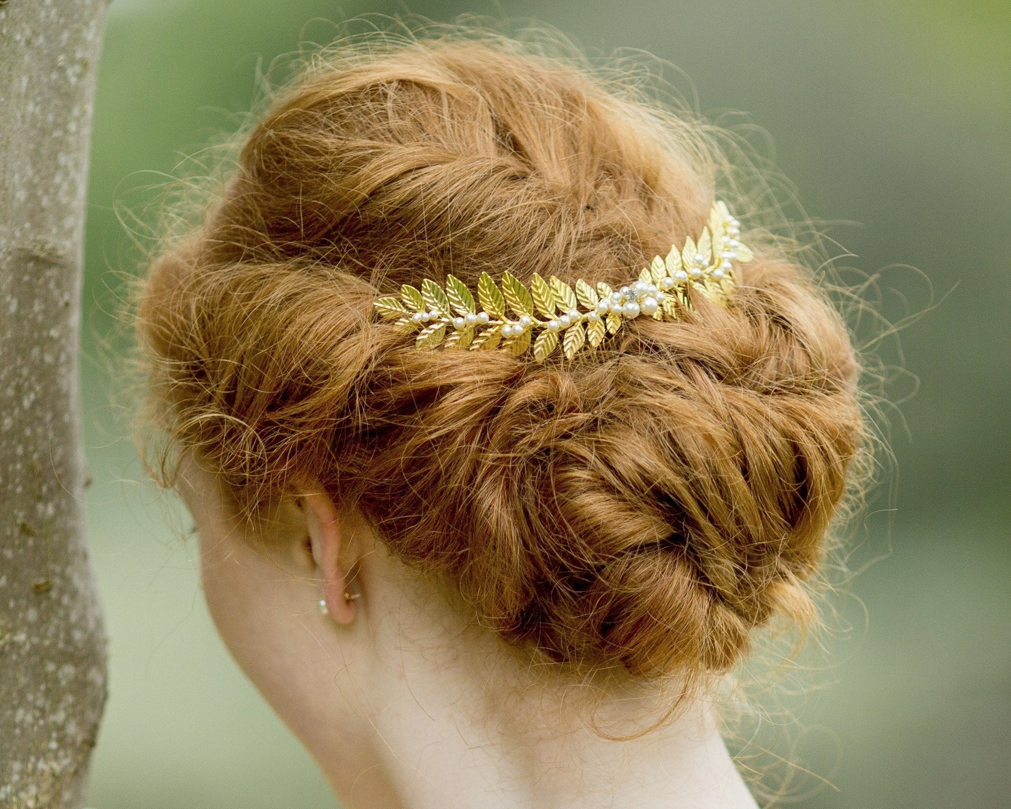 Wedding Hair Combs - Handmade Rustic Style Leaf & Pearl Headpiece, Laurel Gold