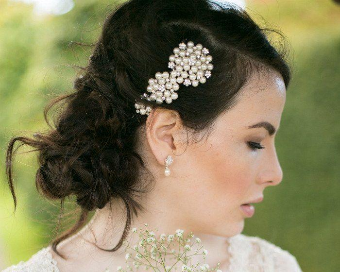 Wedding Hair Combs - Pearl Adorned Luxe Crystal Wedding Comb, Meredith