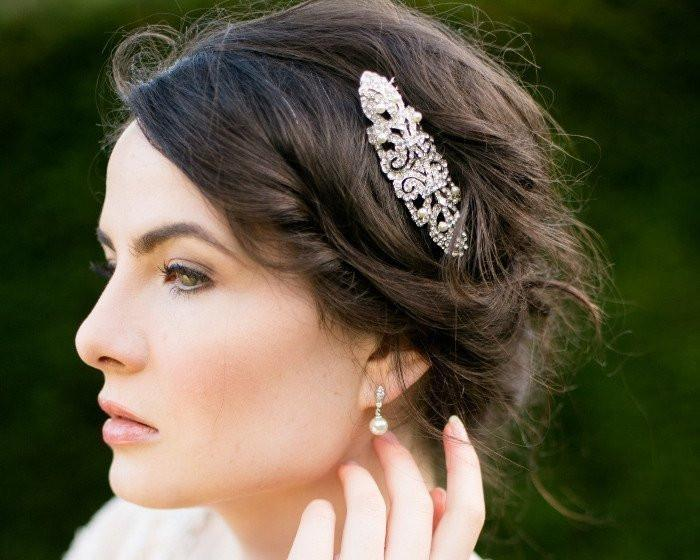 Art Deco Style Crystal Encrusted Wedding Hair Comb, Ellen C