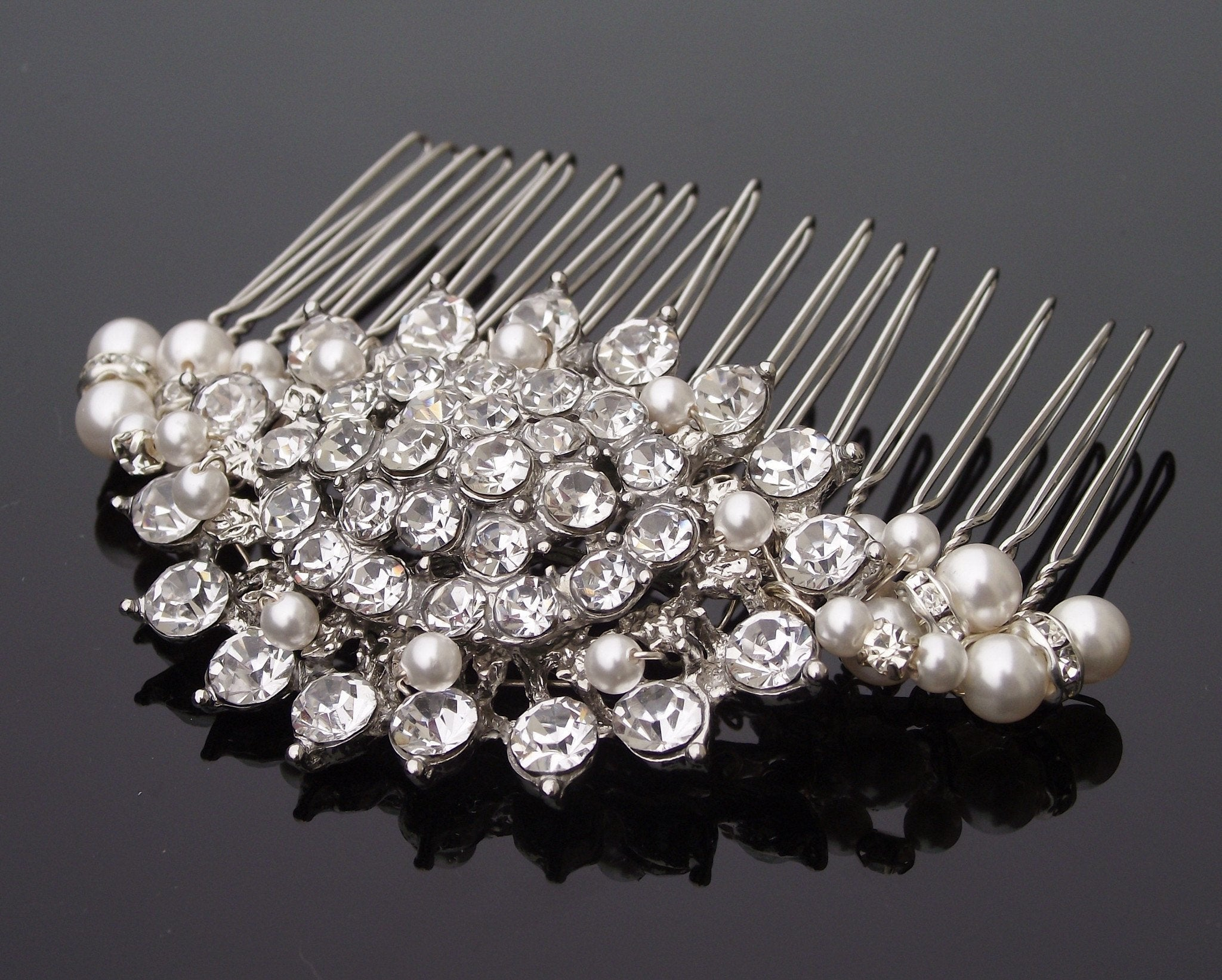 Wedding Hair Combs - Rhinestone And Pearl Oval Style Hair Comb, Sally