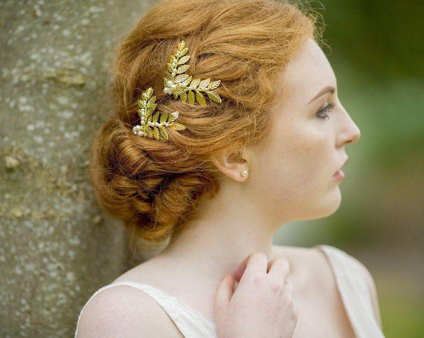 Wedding Hair Combs - Rustic Style Leaf & Pearl Hair Clip, Laurel Gold Mini