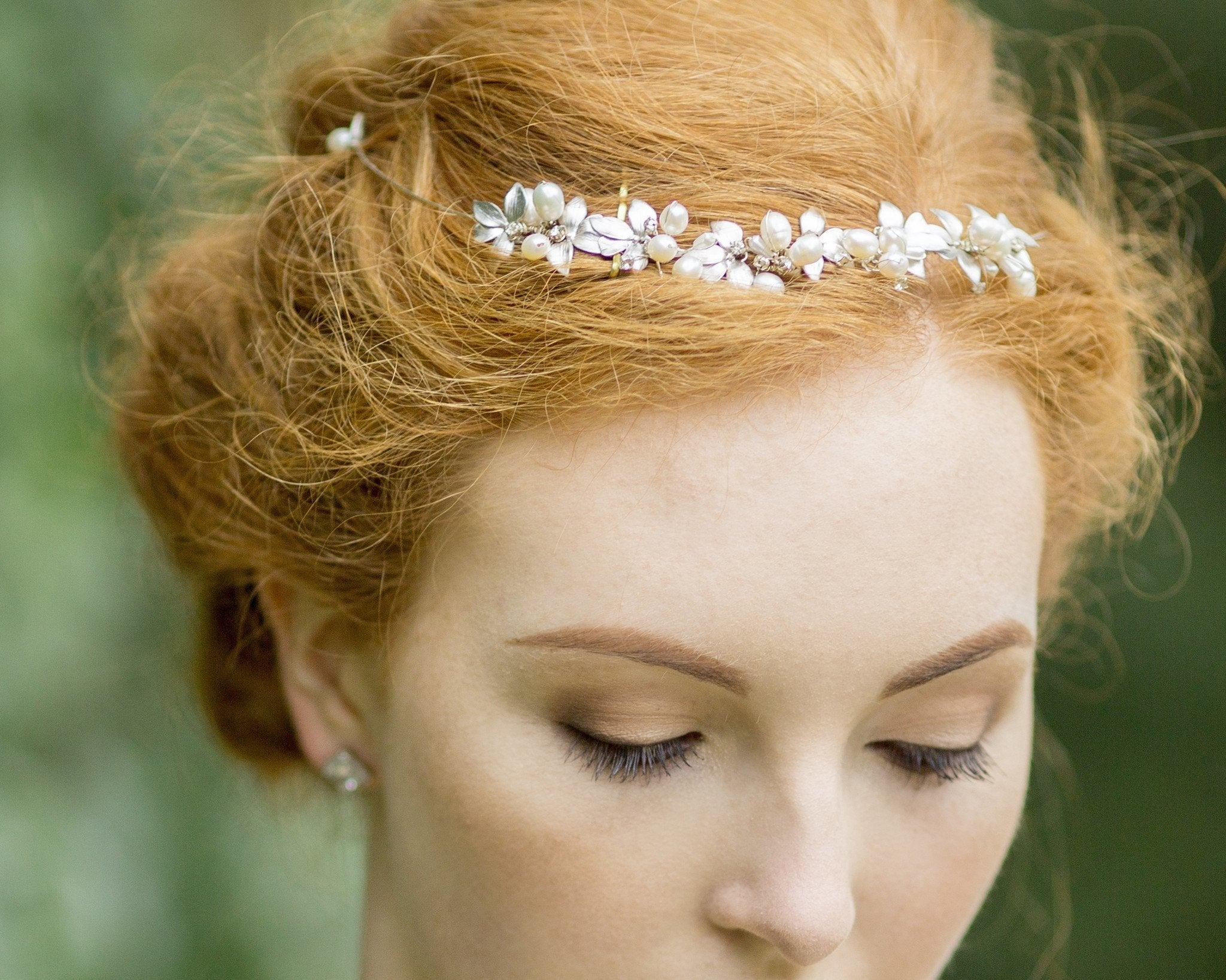 Wedding Hair Combs - Silver Leaf And Freshwater Pearl Headpiece, Silver Vine