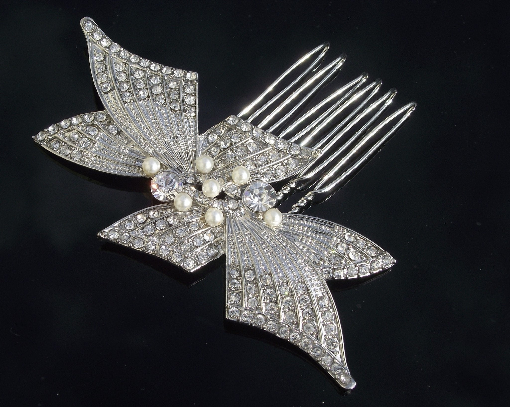 Wedding Hair Combs - Swarovski Crystal & Pearl Bridal Hair Comb, Monet