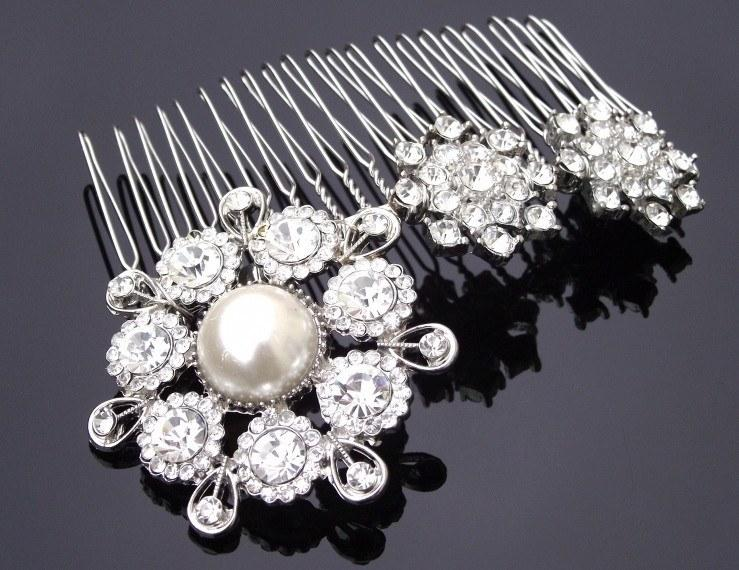 Wedding Hair Combs - Vintage Inspired Pearl And Rhinestone Comb, Alex