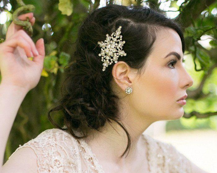 Wedding Hair Combs - Wedding Rhinestone And Pearl Hair Comb, Chloe