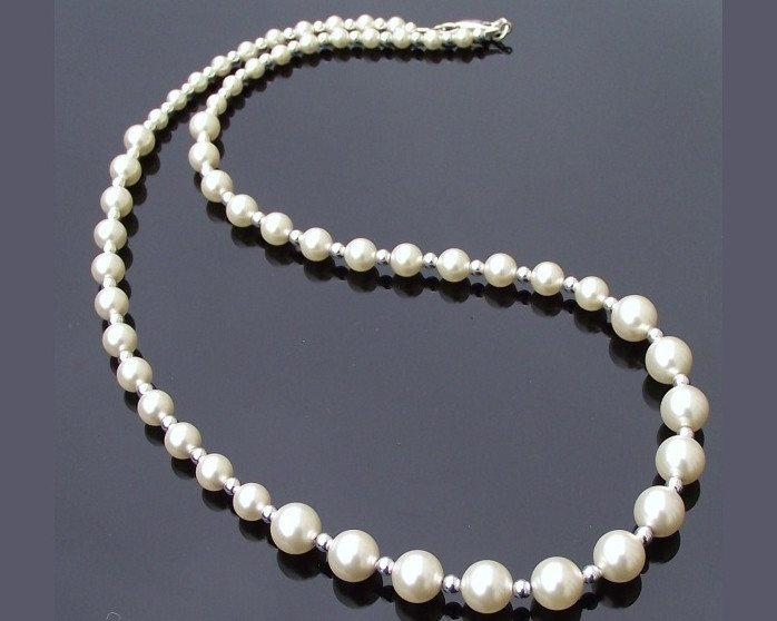 Wedding Necklace - Classic Graduated Pearl & Sterling Silver Necklace, Classic