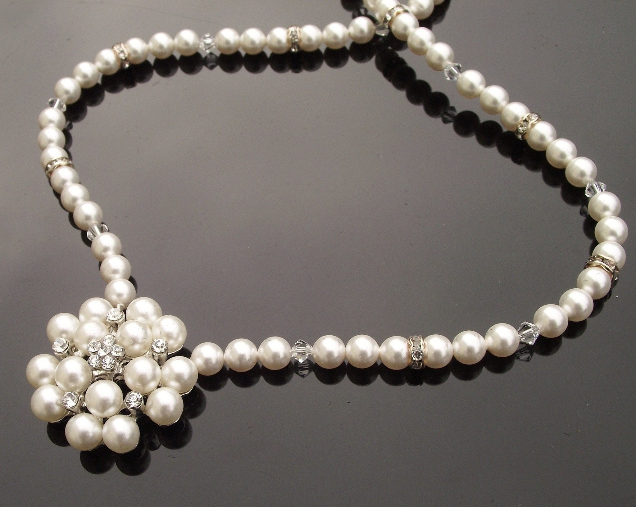 Wedding Necklace - Pearl & Swarovski Crystal Embellished Necklace, Meredith