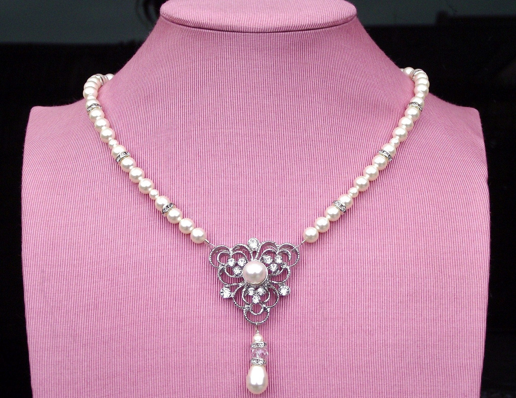 Wedding Necklace - Statement Rhinestone & Pearl Necklace, Eve-P