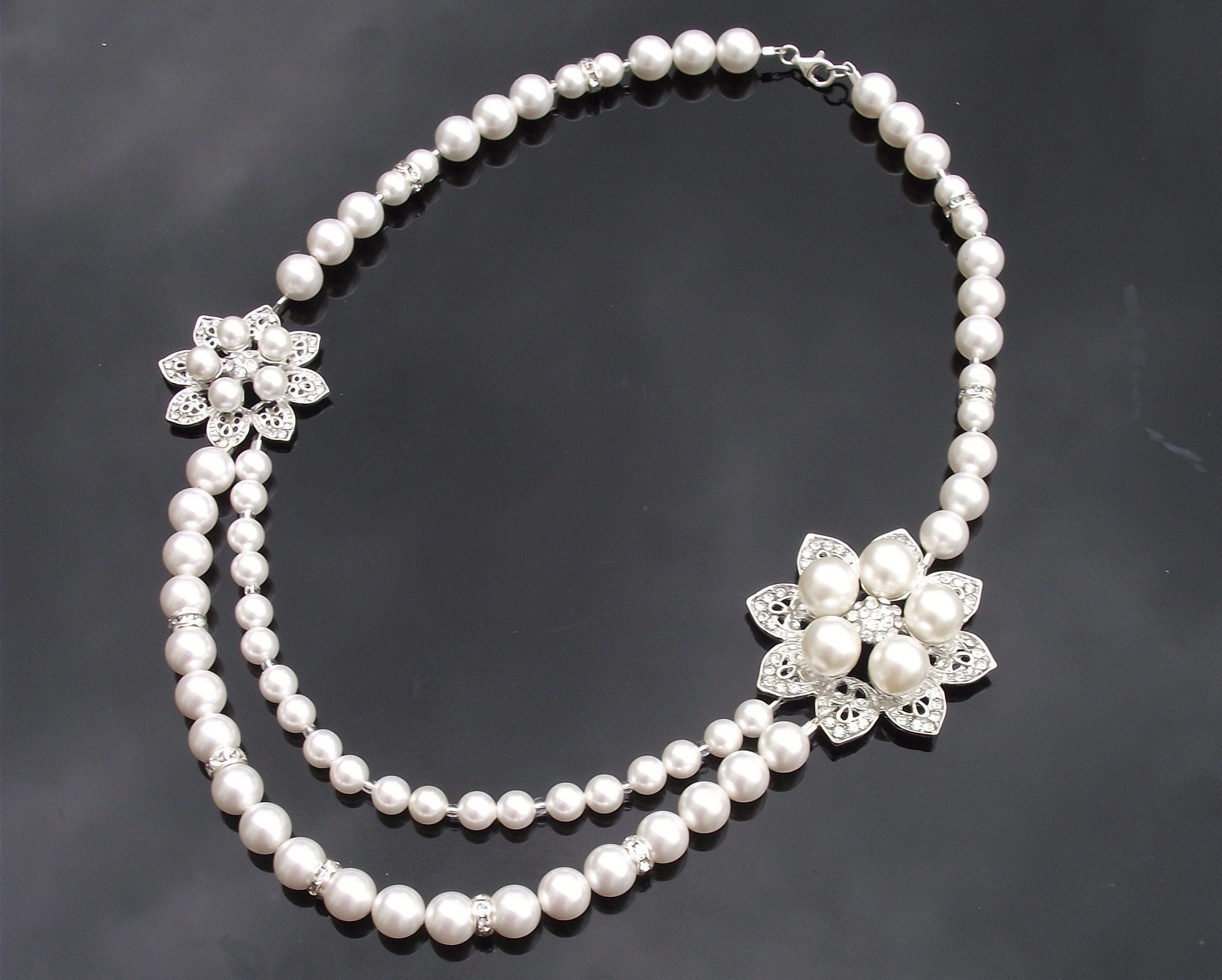 Wedding Necklace - Vintage Style Bridal Necklace, Double Row Swarovski Pearls, Alyson