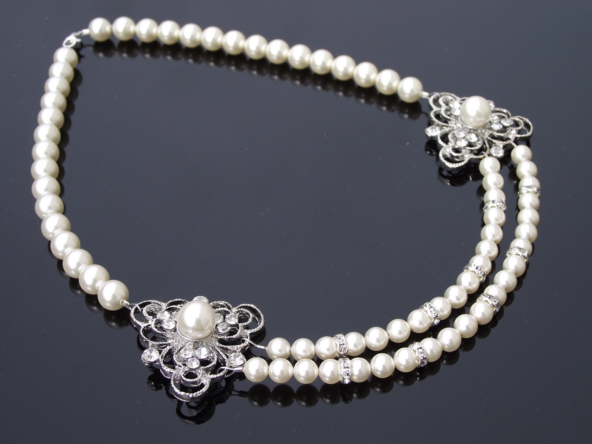 Wedding Necklace - Vintage Style Pearl Necklace, Swarovski Pearls & Rhinestones, Eve