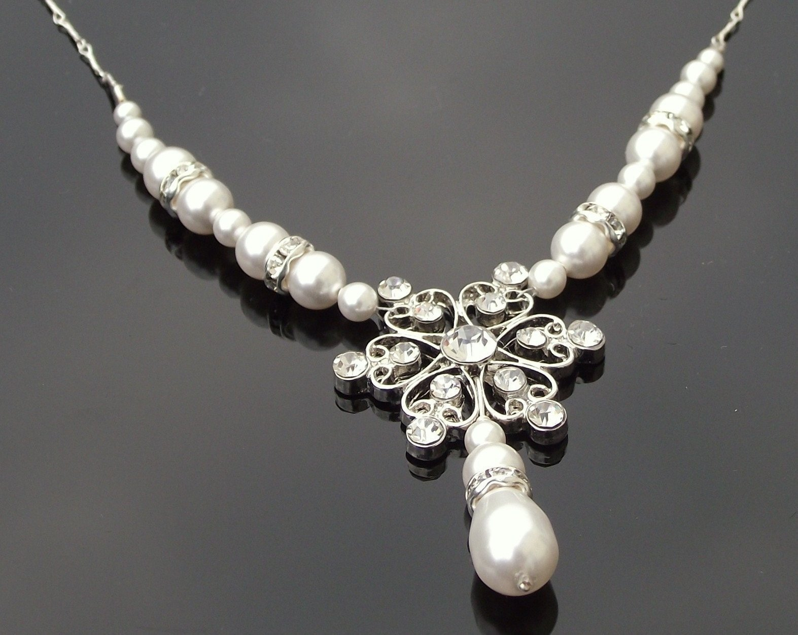 Wedding Necklace - Vintage Style Rhinestone Pearl Necklace, Willow