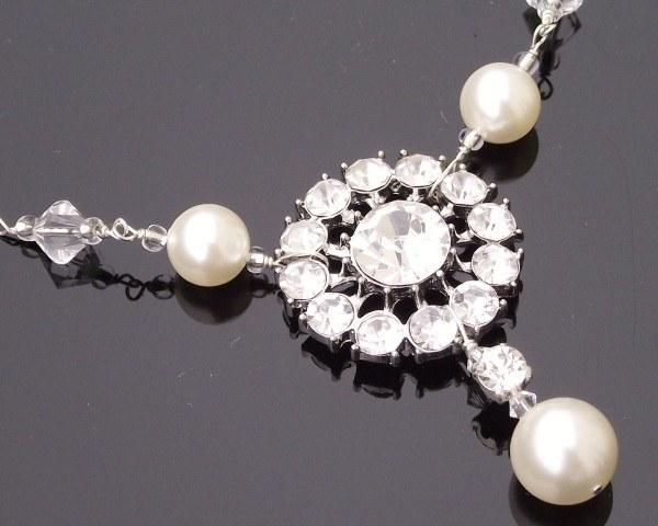 Wedding Necklace - Wedding Rhinestone & Pearl Necklace, Paula