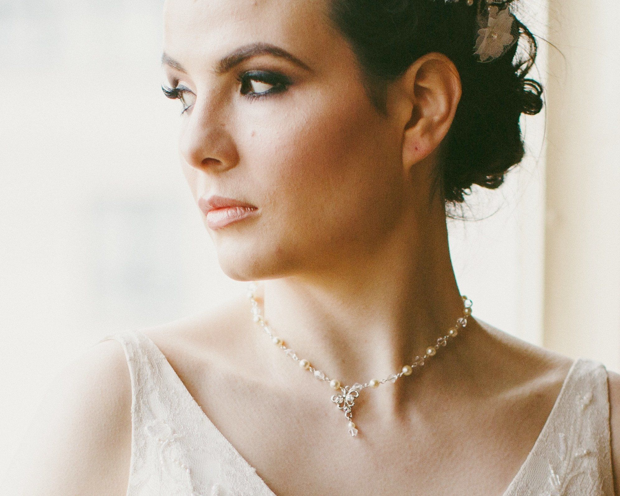 Wedding Necklace - Wedding Vintage Inspired Necklace With Backdrop, Lydia