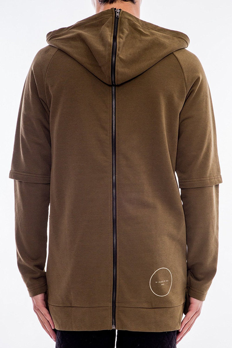 Vie + Riche Men's Zipper Back French Terry Hoody Sweatshirt